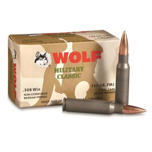 Wolf Military Classic .308 Winchester Ammunition 168 Grain Bi-Metal FMJ Steel Case 2745 fp