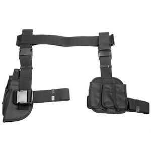 NcSTAR Drop Leg Holster and Triple Magazine Pouch Most Full Sized and Compact Pistols Right Hand PVC Black