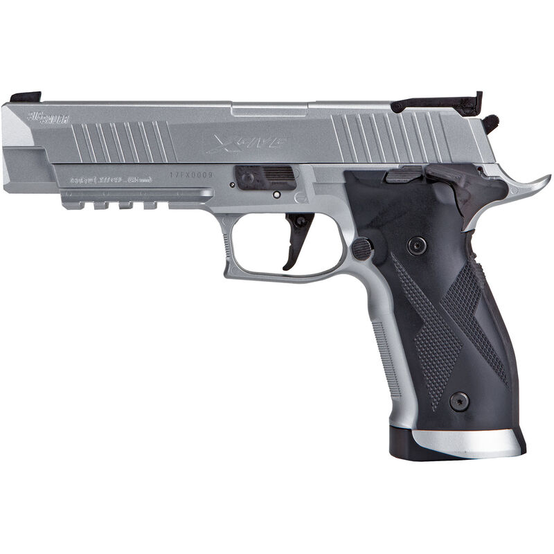 SIG Sauer X-Five ASP CO2 Semi Auto Air Pistol  177 Caliber Pellet 20 Rounds  Metal Frame and Slide Silver Finish