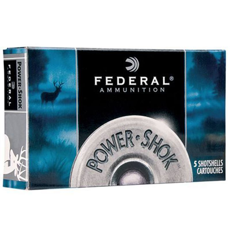 "Federal Power-Shok 12 Gauge Shotshell 5 Rounds 3"" Magnum Lead 00 Buck 15 Pellets"