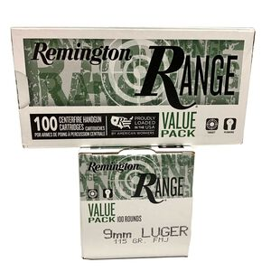 100 Rounds of Remington RANGE 9mm 115 Grain Full Metal Jacket Ammunition100 Rounds per Box T9MM3B