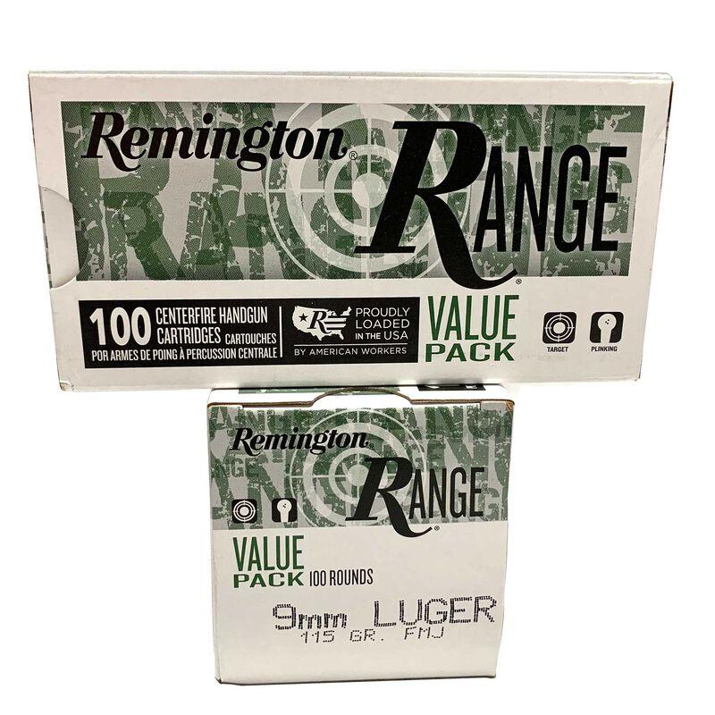 Remington RANGE 9mm 115 Grain Full Metal Jacket Ammunition100 Rounds 1150fps
