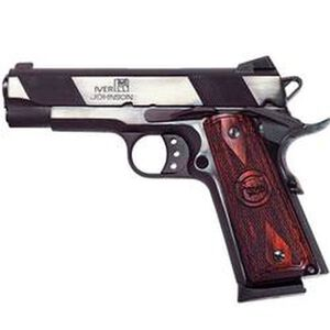 "Iver Johnson Hawk Semi Auto Handgun 1911A1 Standard .45 ACP 4.25"" Barrel 8 Rounds Checkered Wood Grips Blued Finish"