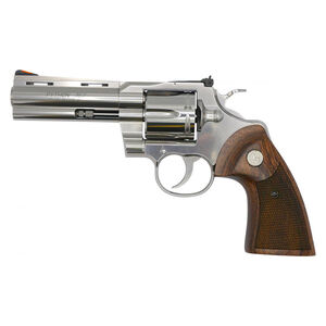 "Colt Python .357 Magnum Revolver 4.25"" Barrel 6 Rounds Walnut Target Grips Semi-Bright Stainless Steel Finish"