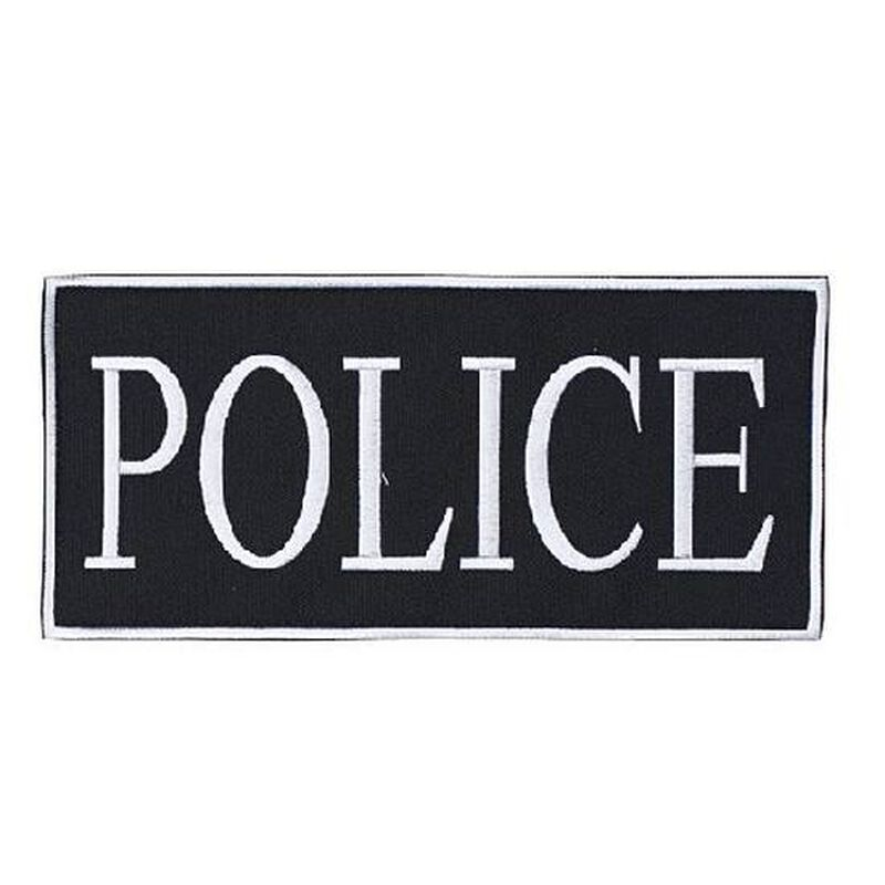 """Voodoo Tactical Law Enforcement POLICE Patch 2"""" x 4"""" Velcro/Sew-On Black With White Text 772724219"""
