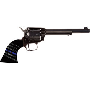 """Heritage Manufacturing Rough Rider .22 LR Single Action Army Rimfire Revolver 6.5"""" Barrel 6 Round Thin Blue Line Flag Grips Blued Finish"""