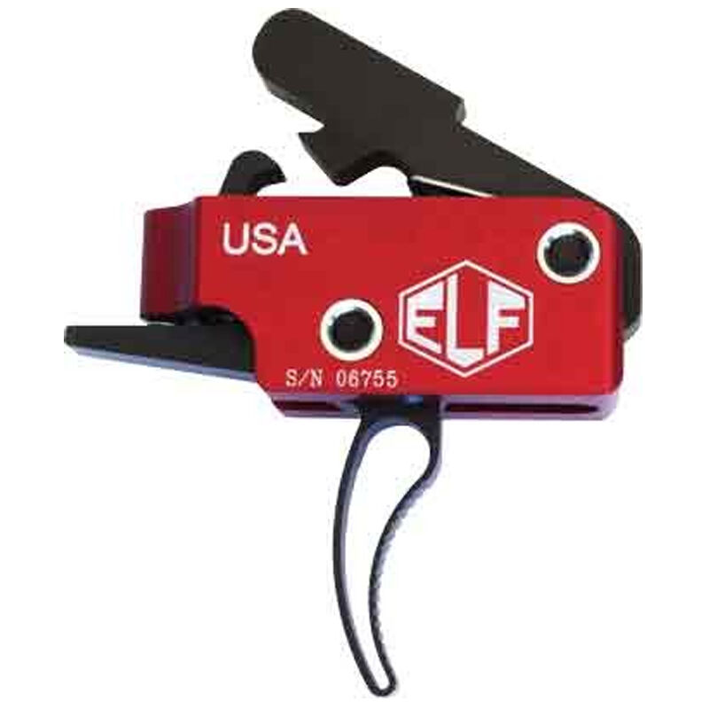 Elftmann Tactical AR-15 ELF Match Trigger Curved Drop-In Adjustable Red/Black MATCH-C