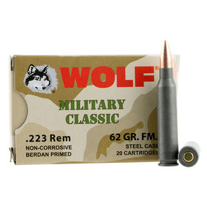 Wolf Military Classic .223 Remington Ammunition 20 Rounds 62 Grain Bi-Metal FMJ Steel Cased 2920 fps