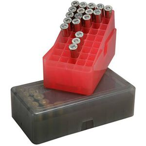 MTM Case-Gard E-50 Series .45 ACP 50 Round Slip Top Handgun Cartridge Box Polymer Clear Red E-50-45-29