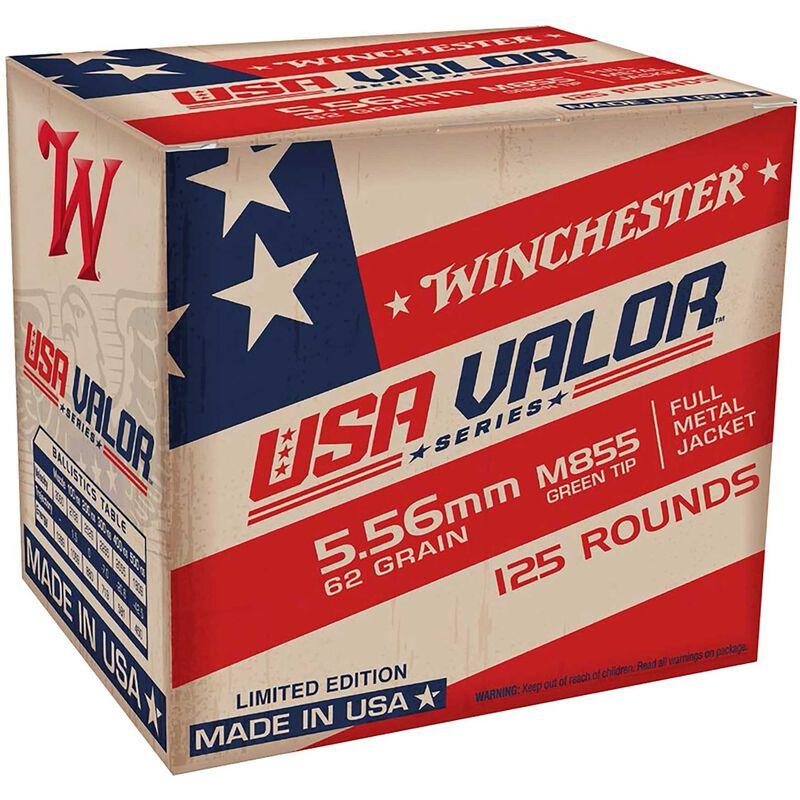 Winchester USA Valor 5.56 NATO M855 Ammunition 62 Grains SS109 FMJ Green Tip 125 Rounds 3060 fps