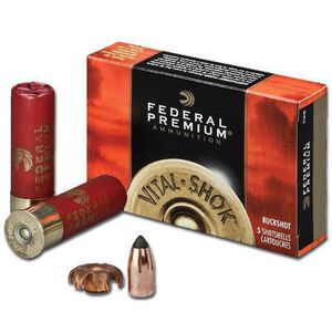 "Federal Vital-Shok 12 Gauge Ammunition 5 Rounds 2.75"" Copper Slug 300 Grains"