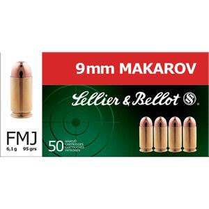 Sellier & Bellot 9x18mm Makarov Ammunition 50 Rounds FMJ 95 Grains SB9MAK