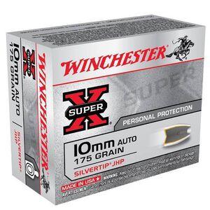 Winchester Super X 10mm Auto Ammunition 20 Rounds, Silvertip HP, 175 Grain