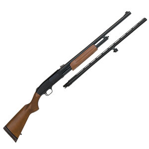 """Mossberg 500 Pump Action Field and Deer Shotgun Combo 12 Gauge 24"""" and 28"""" Barrels 3"""" Chamber 6 Rounds Wood Stock Blued Finish"""