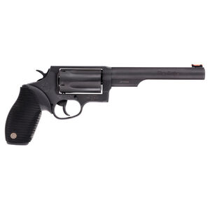 "Taurus Judge Double Action Revolver .45 Long Colt/.410 Bore 2.5"" Chamber 6.5"" Barrel 5 Round Fixed Red Fiber Optic Front Sight/Fixed Rear Sight Ribbed Rubber Grip Matte Black Finish"