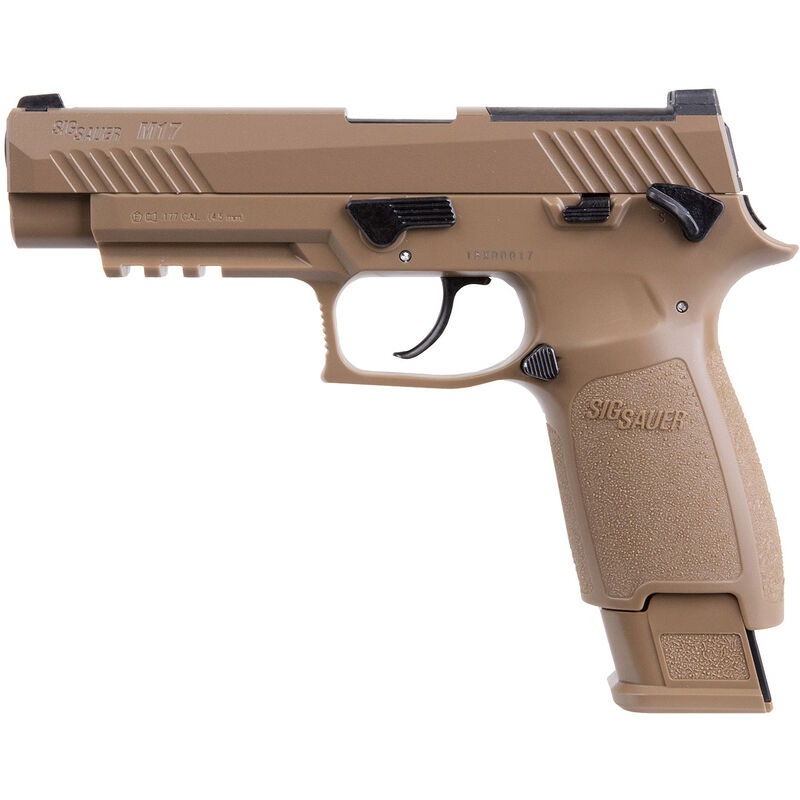SIG Sauer P320-M17 CO2 Semi Auto Air Pistol  177 Caliber Pellet 20 Rounds  Polymer Frame Metal Slide Coyote Tan