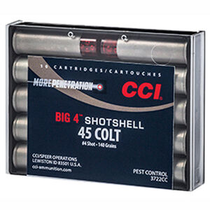 CCI Big 4 Shotshell .45 Colt Ammunition 10 Rounds #4 Lead Shot 3722CC