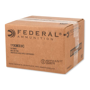 Federal American Eagle .50 BMG Ammunition 100 Rounds FMJ 660 Grain XM33C