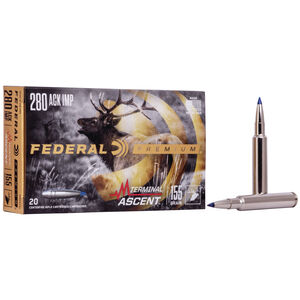 Federal Premium Terminal Ascent 280 Ackley Improved Ammunition 20 Round Box 155 Grain Terminal Ascent Projectile 2954fps