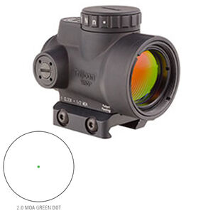 Trijicon MRO 1x25 Miniature Rifle Optic 2.0 MOA Adjustable Green Dot 1/2 MOA Adjustments CR2032 Lithium Battery Low Mount Matte Black