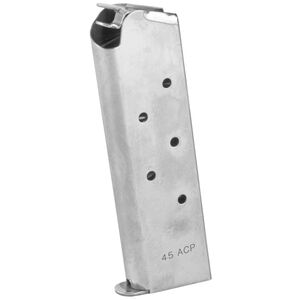 Colt .45ACP Government / Commander Style 7 Round Magazine For 1911 Stainless Steel Finish