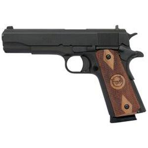 "Iver Johnson Semi Auto Handgun 1911A1 Standard .45 ACP 5"" Barrel 8 Rounds Checkered Wood Grips Blued Finish 1911A1"