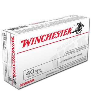 Winchester USA .40 S&W Ammunition 50 Rounds, JHP, 180 Grain