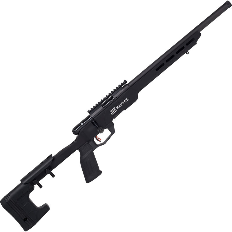 """Savage B22 Precision .22 LR Bolt Action Rimfire Rifle 18"""" Heavy Threaded Barrel 10 Rounds with Picatinny Rail Aluminum MDT Chassis Black Finish"""