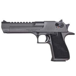 """Magnum Research Desert Eagle Mark XIX Semi Auto Pistol .50 AE 6"""" Barrel 7 Rounds Full Weaver Accessory Rail Black Grips Tungsten Cerakote Finish Dark Graphite Grey Color"""