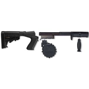 Adaptive Tactical Sidewinder Venom Shotgun Magazine Conversion Kit with 10 Round Drum Magazine and M4 Stock Mossberg 500 Polymer  Black