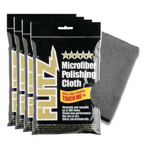 "FLITZ Microfiber Polishing Cloth Four-Pack 16""x16"" (40x40cm) Grey"