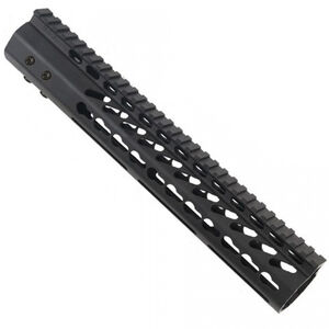 "Guntec 12"" Ultra Lightweight Thin KeyMod Free Floating Handguard with Monolithic Top Rail LR-308 DPMS Low Profile 12.9 oz Aluminum Body Steel Barrel Nut Black"