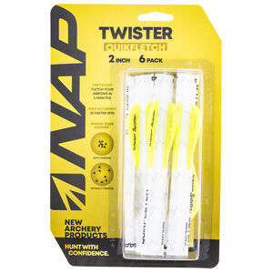 """New Archery Products QuikFletch Twister 2"""" White/Yellow 6 Pack"""