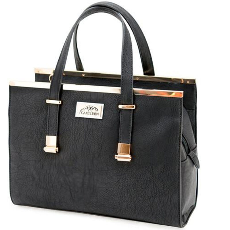 """Cameleon Cora Purse with Concealed Carry Gun Compartment 12""""x9""""x5"""" Synthetic Leather Black"""