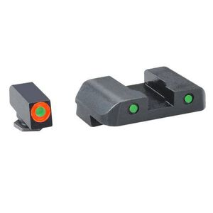 AmeriGlo Spartan Tactical Tritium Sights GLOCK 20/21/29/30/31/32/36/41 Green with Orange Outline Front Green Back Black GL448