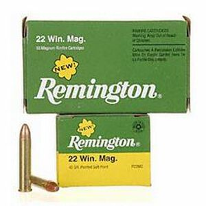 Ammo .22 Magnum Remington Pointed Soft Point 40 Grain 1910 fps 50 Round Box