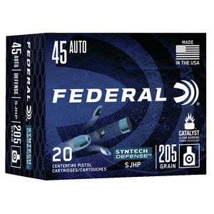 Federal Syntech Defense .45 ACP Ammunition 20 Rounds 205 Grain Syntech Segmented Hollow Point 970 fps