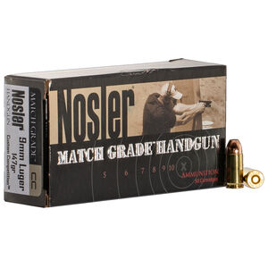 Nosler Match Grade Handgun 9mm Luger Ammunition 50 Rounds 147 Grain Custom Competition JHP 880 fps