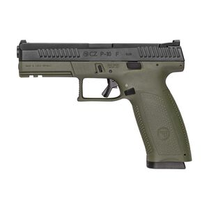 "CZ P-10 F 9mm Luger Semi Auto Pistol 4.5"" Barrel 19 Rounds Polymer Frame Olive Drab Green Frame/Black Slide"