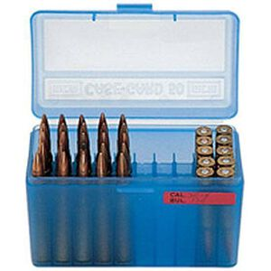 MTM Case-Gard R-50 Series 50 Rounds Large Diameter Medium Rifle Ammunition Box Polypropylene Clear Blue RMLD-50-24