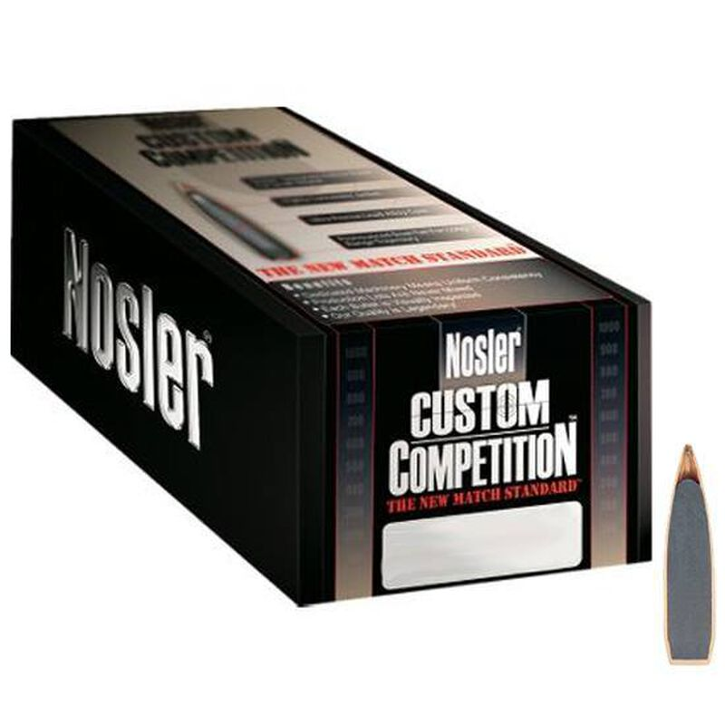 """Nolser .30 Caliber .308"""" Diameter 168 Grain Hollow Point Boat Tail Custom Competition Rifle Bullets 250 Count 53168"""