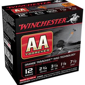 "Winchester AA TrAAcker 12 Gauge Ammunition 25 Rounds 2-3/4"" Shot Shell 1-1/8oz Lead Shot #7.5 Shot Size Orange TrAACker Wad Technology 1300fps"