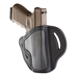 1791 Gunleather Project Stealth CF-BH2.1 Multi-Fit OWB Belt Holster for Full Size/Compact Semi Auto Models Right Hand Draw Carbon Fiber/Leather Black