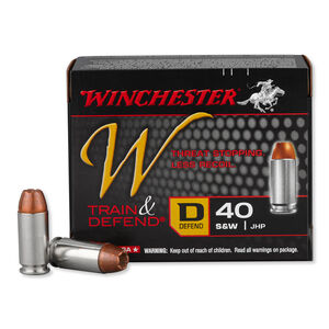 Winchester Train and Defend .40 S&W Ammunition 20 Rounds, JHP, 180 Grain