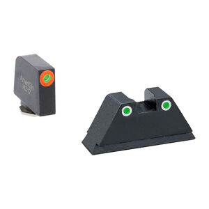 Ameriglo Tall Suppressor Green Orange Sight Set for GLOCK GL-331 Green Tritium Front Dot with Orange Outline and Green Tritium with White Outline Rear Dot
