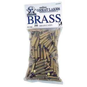 Great Lakes Bullets and Ammunition .223 Remington Once Fired Brass Cases 250 Pack B687993