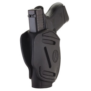 1791 Gunleather 3WH 3 Way Multi-Fit OWB Concealment Holster for .380 ACP Semi Auto Models Ambidextrous Draw Leather Stealth Black
