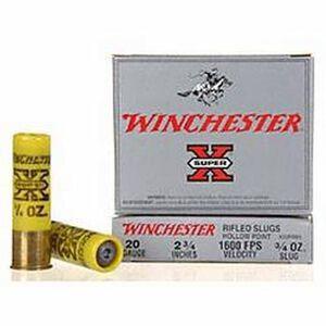 "Winchester 20 Gauge Super X 2.75"" Rifled HP Slug Five Rounds"