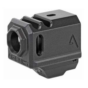 Agency Arms 417 Compensator GLOCK 43 1/2x28 Thread Pitch Front Site Hole Anodized Black