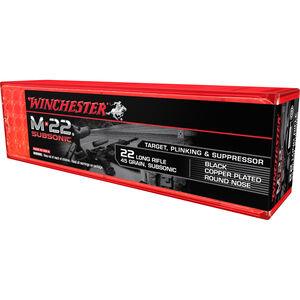 Winchester M-22 SubSonic .22LR Ammunition 45 Grain Plated LRN 1090 fps